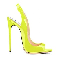 2019 New Women Pump High Heels Pink Buckle Strap Block Heels Slingback Sling Back Peep Toe Leopard Shoe Neon