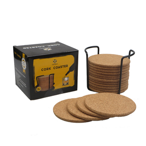 Round custom natural cork blank coaster set with metal holder for drinks absorbent