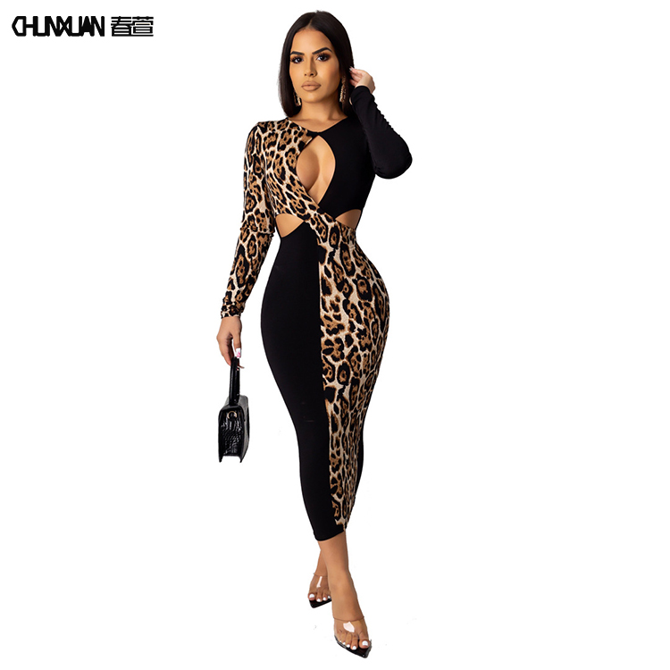 Sıcak tarzı kadın uzun kollu Leopard baskı Maxi elbise seksi Cut Out renk bloğu bayan Bodycon uzun rahat elbise