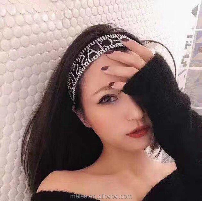 수제 전체 크리스탈 탄성 헤어 밴드 bowknot 어린 소녀 멋진 편지 바로크 hairband 여자 라인 석 머리띠