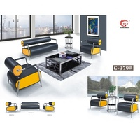 Living room sofa yellow black pu sofa set executive office sofa synthetic leather for business