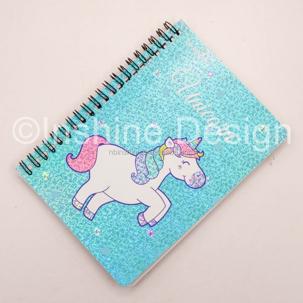 2020 glittering unicorn stationery Spiral Binder planner and custom  diary Notebook student gift school writing personalized pad