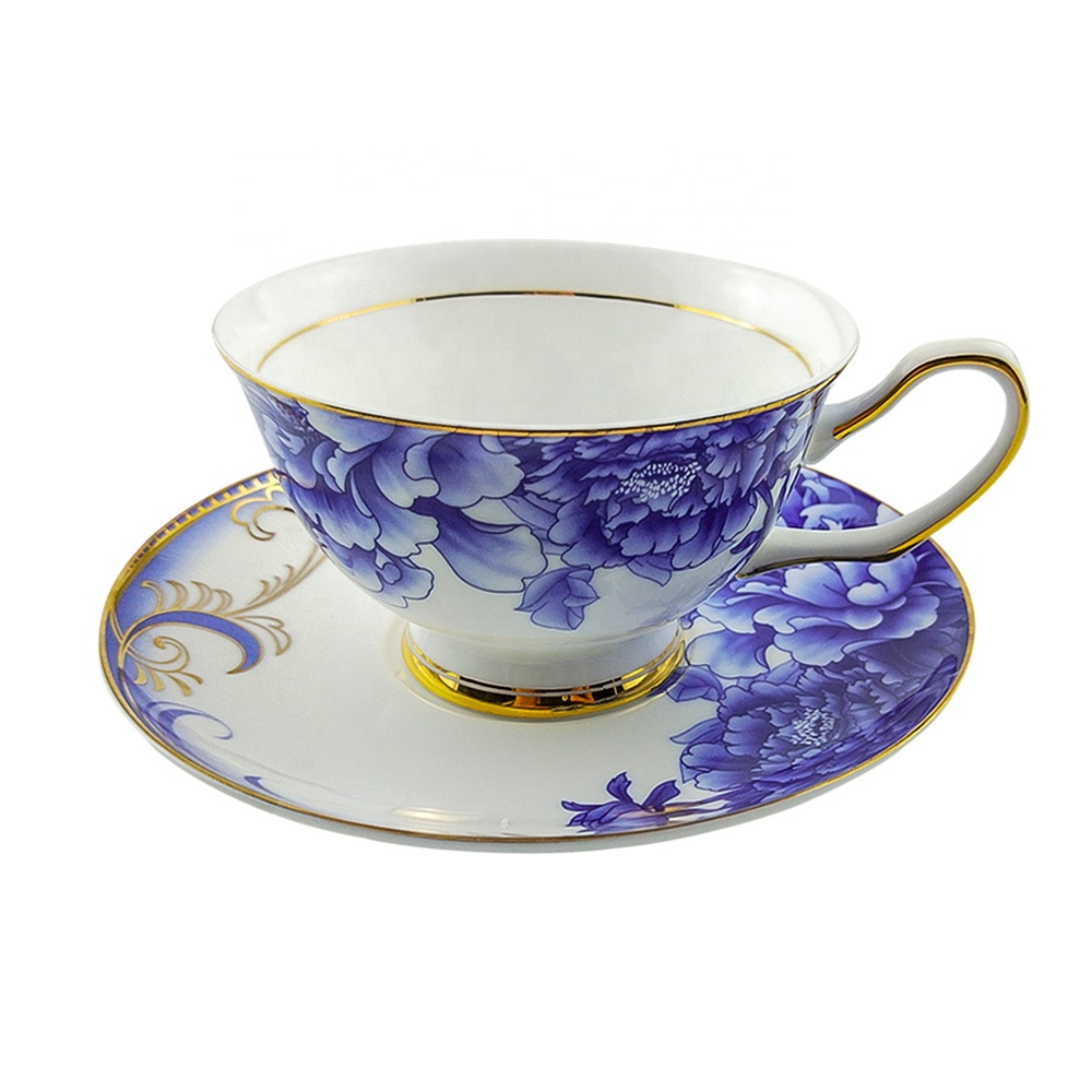 Top Sale Tea Cup With Saucer Sets Blue And White 6 8oz Vintage Bone China Peony Flower Tea Cup Buy High Quality Bone China Tea Cups Modern Tea Cup And Saucer High Quality Coffee