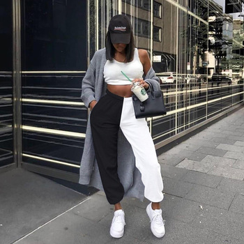 Black and White High Waist Baggy Pants Womens Bottoms Autumn Winter Sweatpants Korean Joggers Trousers