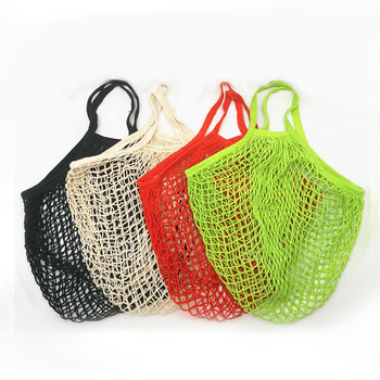 Eco friendly fruit vegetable produce net string shopping reusable grocery tote organic cotton mesh bag