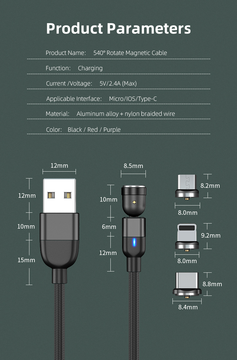 Magnetic Charging Cable 360 & 180 Rotation 3 in 1 Magnetic Phone USB Charger Cable Compatible with Micro USB, Type-C, iOS 3M