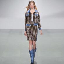 Женский костюм в винтажном английском стиле, клетчатый твидовый шерстяной пиджак, пиджак, топ с длинными рукавами, короткая мини-юбка, компл...(Китай)