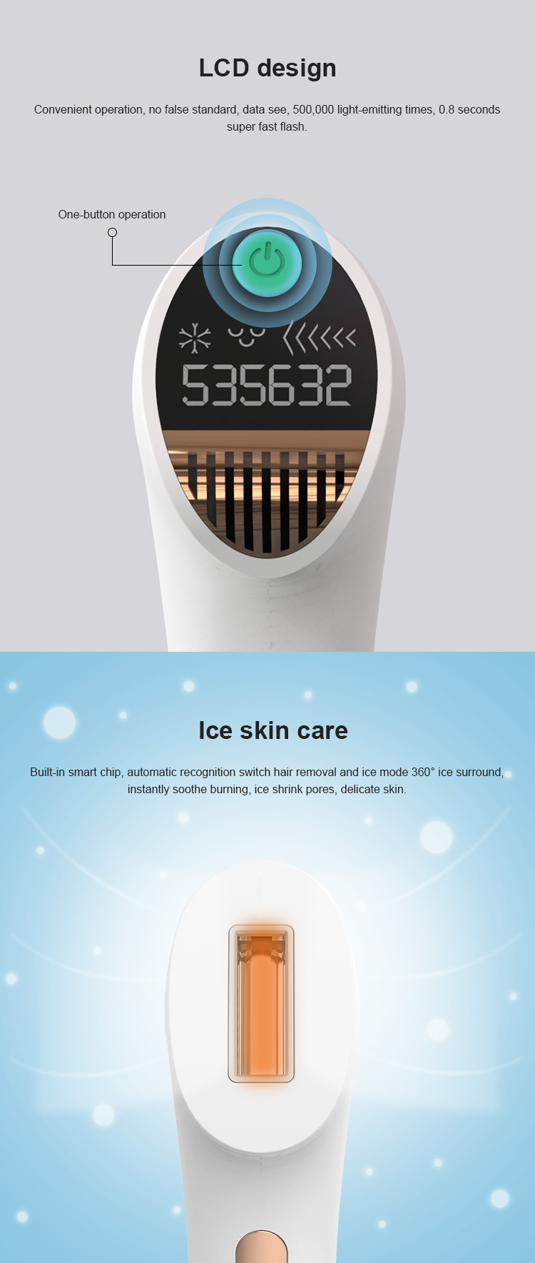 500,000 Flashes IPL Permanent Painless Laser Hair Remover for Face Leg Body Home Use Device