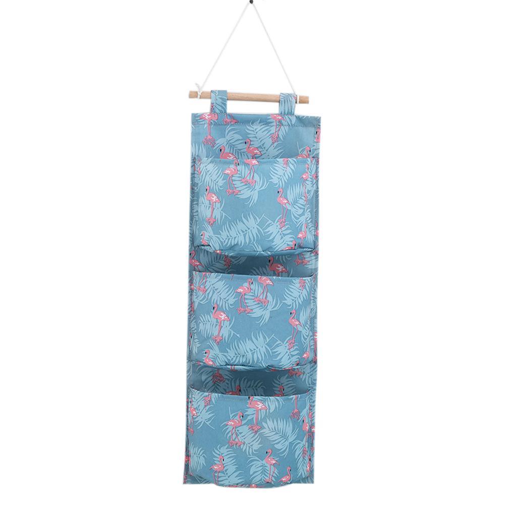 Хлопковая льняной с принтом висячая сумка для хранения 3 кармана длинная висячая сумка для хранения игрушка креативный домашний/семейный Д...(Китай)