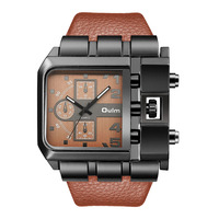 Hot Selling Original Unique Design Rectangle Watch OULM 3364 Wide Dial Quartz Wrist Watches For Men With Leather Strap