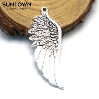 Antique Silver Alloy Angel Wing Charms Trendy Designer Charms Wholesale SUNTOWN
