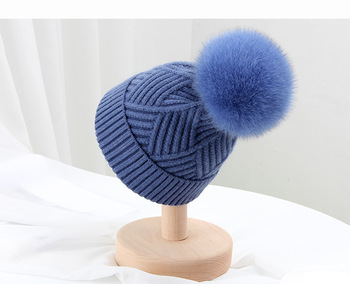 Best Seller Winter Woman Fox Fur Pom Hat Wool Fur Pom Hat