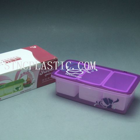 Food Grade seasoning holder with cover Plastic rectangle 3 compartments condiment box