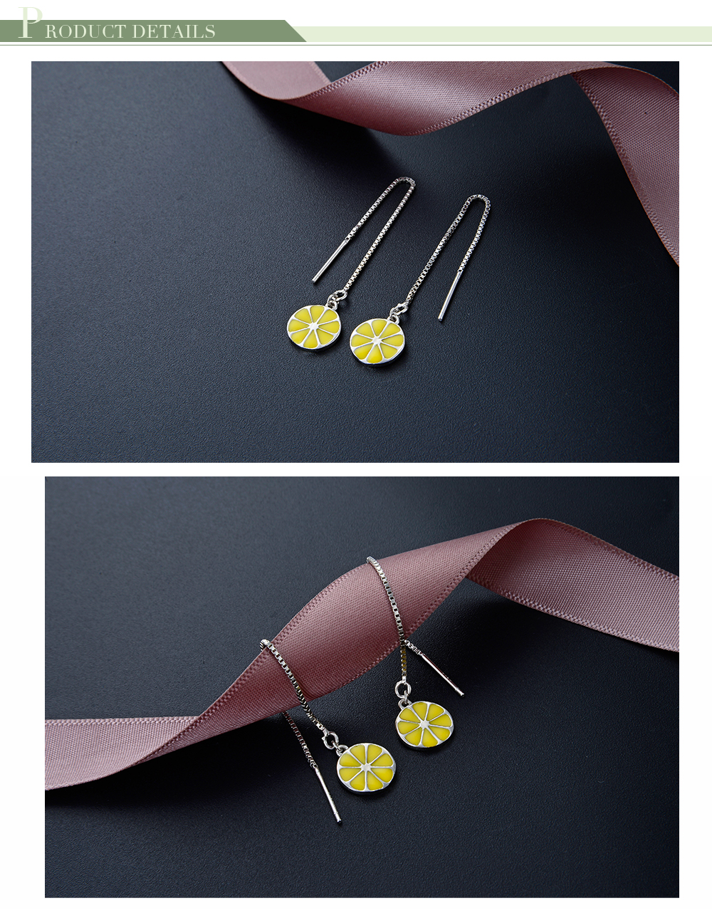 New Lemon Fruit Design 925 Silver Gold Dangling Earring For Lady and Girls