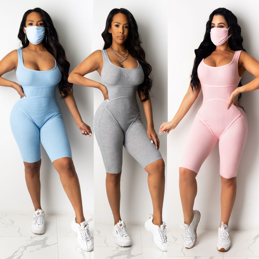 Summer sexy open back and buttock lifting thread One Piece Skinny Onesie Bodycon Yoga Workout Jumpsuit