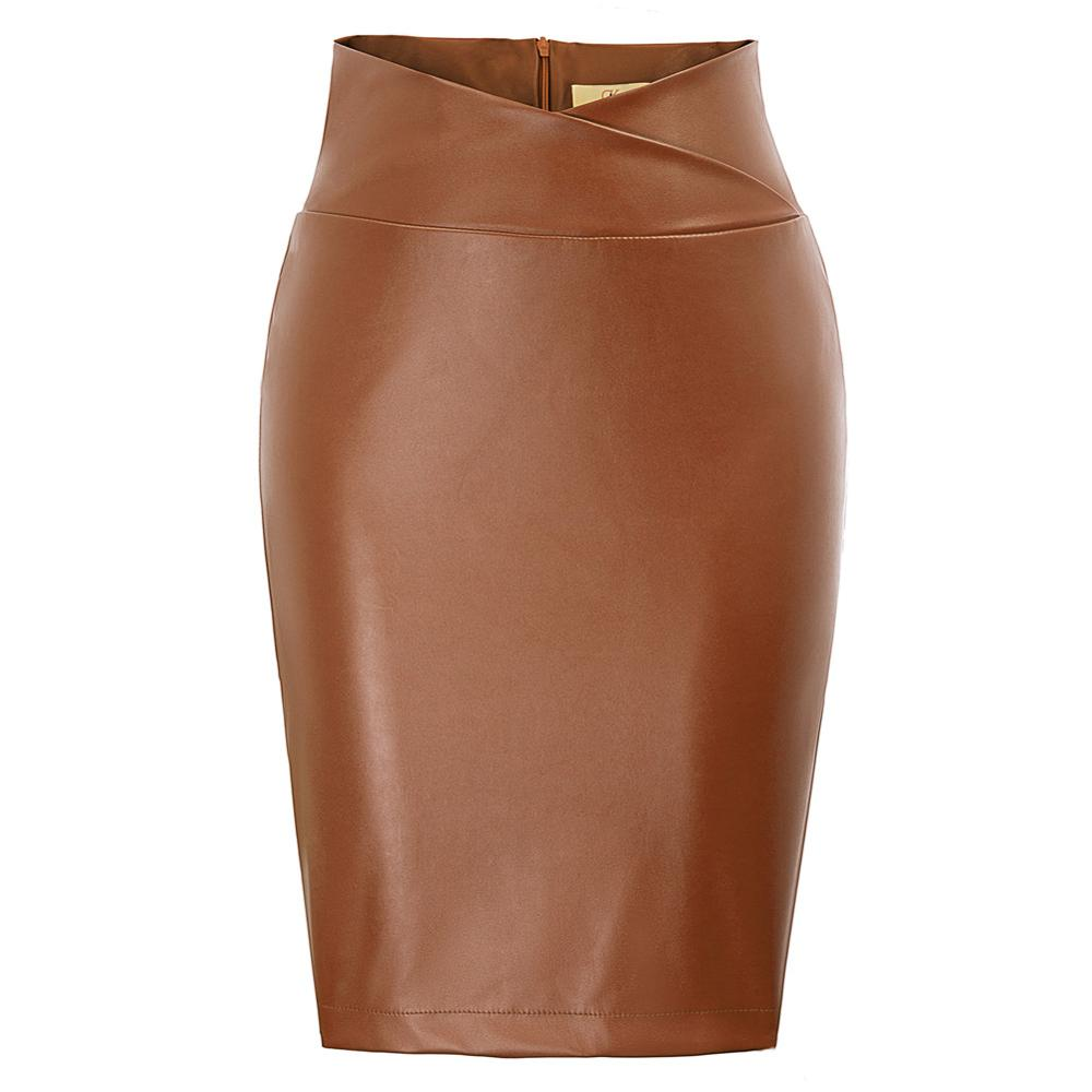 Women Faux Leather Wrap Waist Back Split Hips-Wrapped Bodycon Pencil Skirt DECL0005