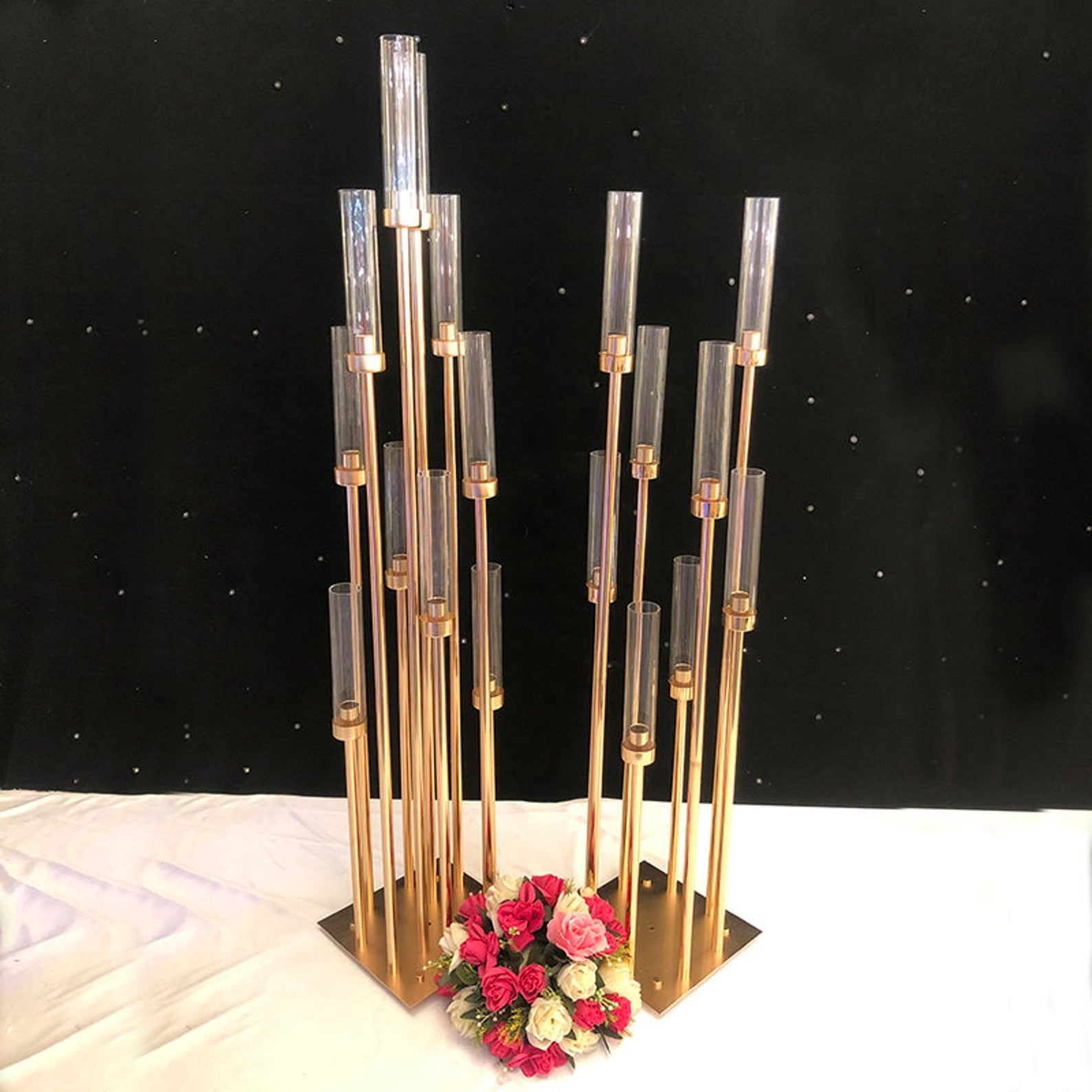 Romantic style crystal candelabra gold centerpieces for wedding table in candle holders