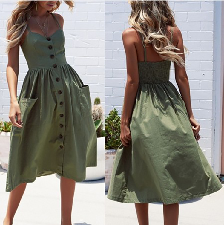 Fronde Sexy Bouton Robe Femmes Ouvrir Dos Jupe robes