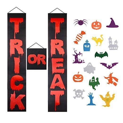 Halloween Porch <strong>Banner</strong> Decorations Outdoor, 3Pcs Trick or Treat Halloween <strong>Banner</strong> Outdoor Upgrade Halloween Hanging Sign