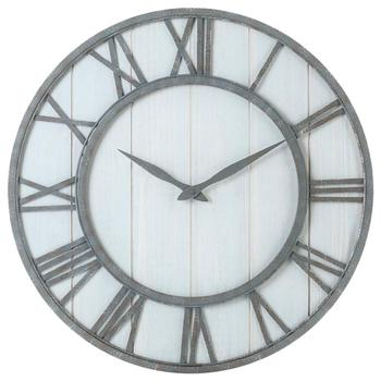 24 inch Large Antique Retro Handmade Metal Frame Home Decor Wood Wall Clock