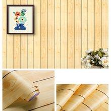 Новое поступление, горячая распродажа, классические деревянные 3d обои, водостойкие самоклеющиеся ПВХ полосатые обои для украшения дома и г...(Китай)