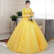 Платье Quinceanera 2020, вечернее платье для выпускного вечера с длинным рукавом, сексуальное бальное платье с v-образным вырезом, роскошное кружев...(China)