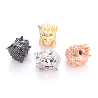 Bracelets Connectors Necklace DIY Charms Pave Micro Cubic Zirconia Spacer Bead for Jewelry Making Egyptian Queen Head Beads