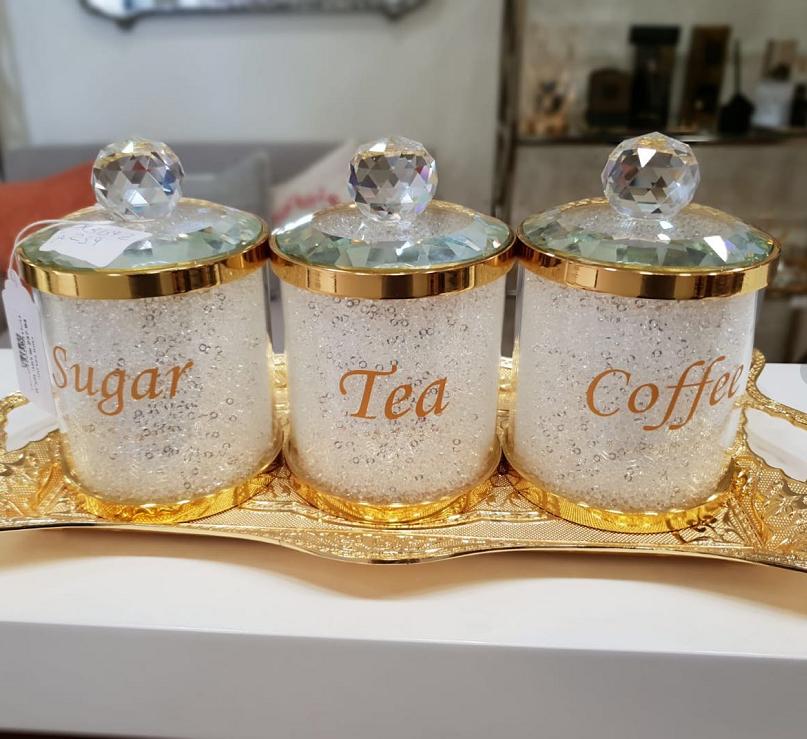 Cristal rempli plateau à thé café sucre Diamond écrasé pots boîtes de conservation