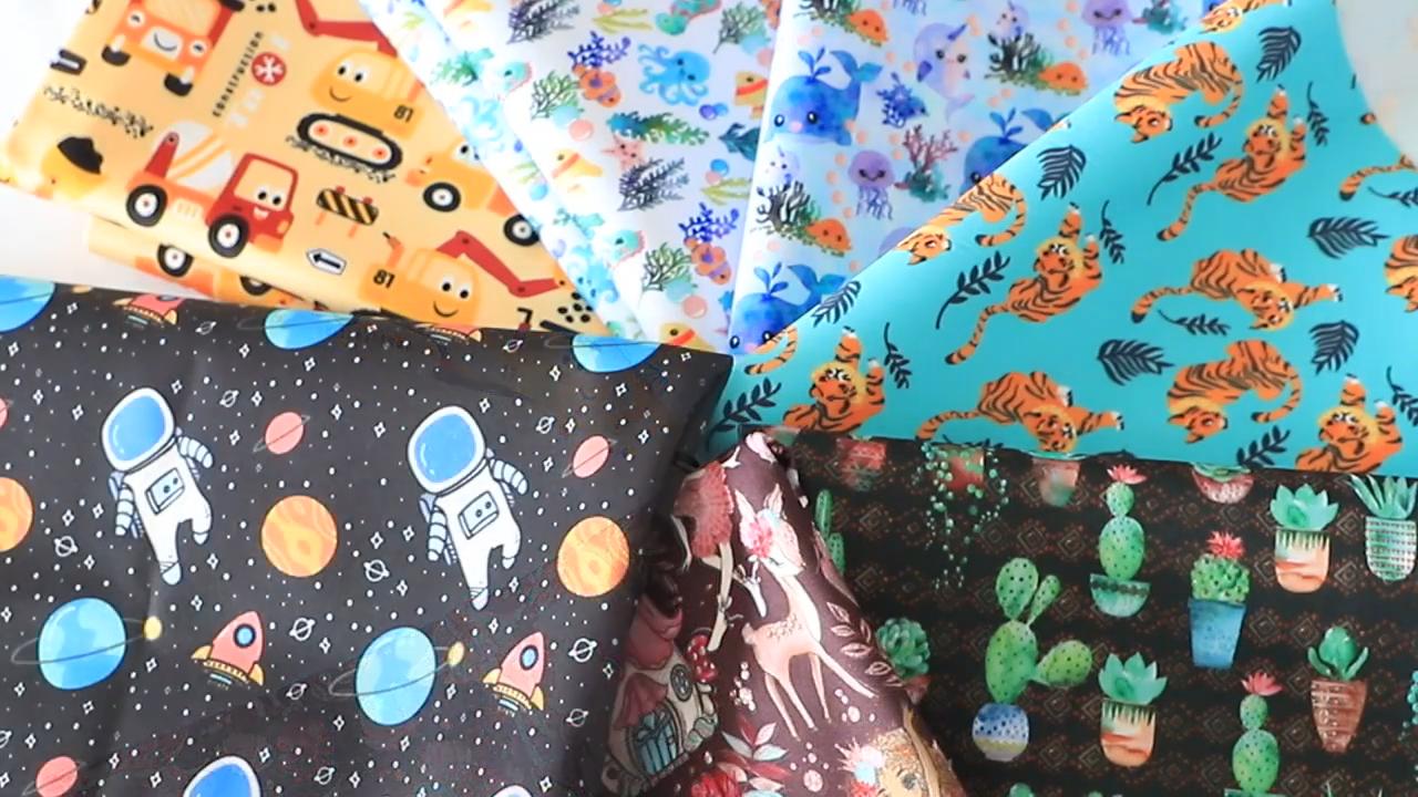 قابل للغسل PUL مغلفة نسيج منشفة ملابس السباحة حفاضات حفاضات رخيصة للطي الرطب الجاف القماش حقيبة قماش صديقة للبيئة PUL النسيج