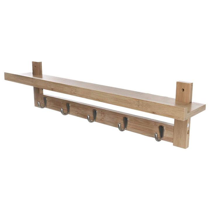 5 Metal Hooks Bamboo Coat Rack MSL-093 Details