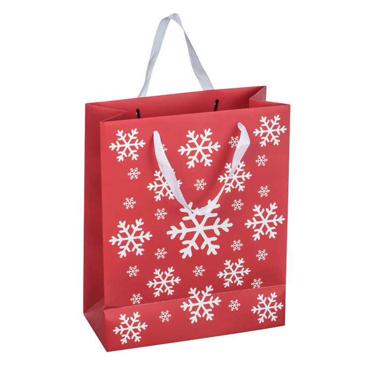 Custom recyclable CMYK Christmas gift snowflake paper bag for Xmas decorations