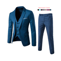 Wholesale 3 Piece Suits Set For Men Custom Size Solid Business Blazer Suit Set With Waistcoat And Trousers Men's Business Suits