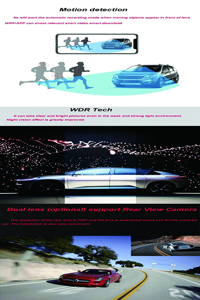 Factory Direct Supply 360 Degree Wide Angle View Driving Recorder Car Camera, 1080P Car Camera DVR Video Recorder with G-Sensor
