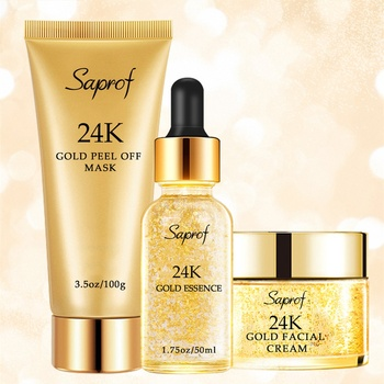 High quality crystal hydration essence gold foil whitening cream facial care kit 24k gold skin care set