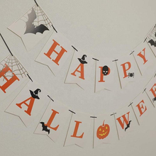 Umiss Papier Happy <span class=keywords><strong>Halloween</strong></span> Banner Bunting Garland mit Bat Zeichen für <span class=keywords><strong>Halloween</strong></span> <span class=keywords><strong>Party</strong></span> Dekoration Lieferungen