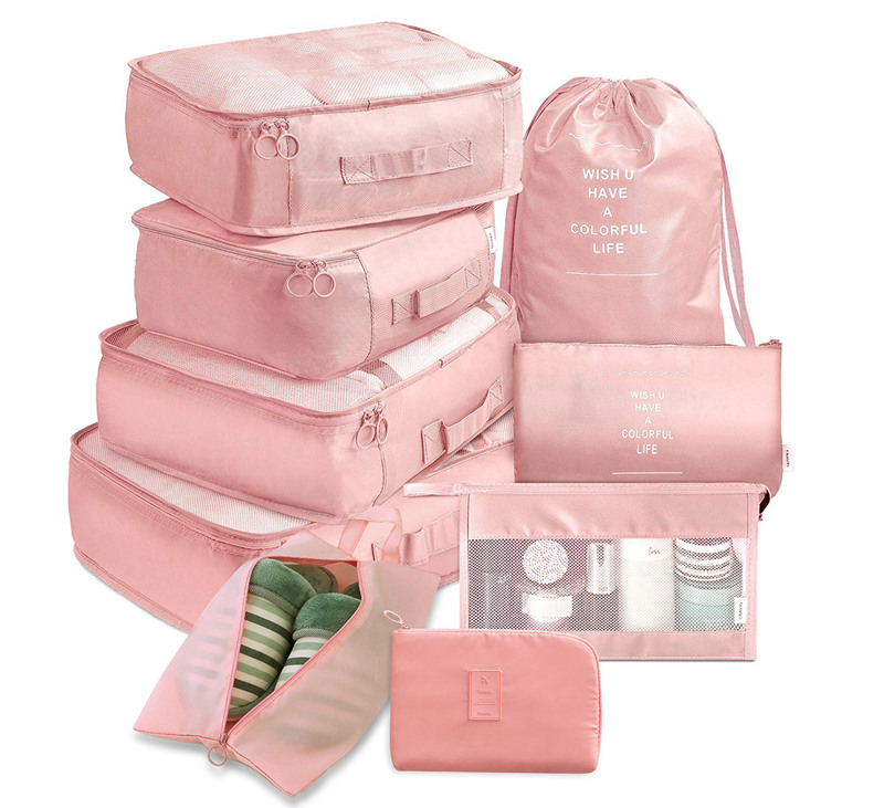 product-GF bags-9-piece Suitcase Organize Storage Bag Portable Cosmetic Bag Clothes Underwear Shoes
