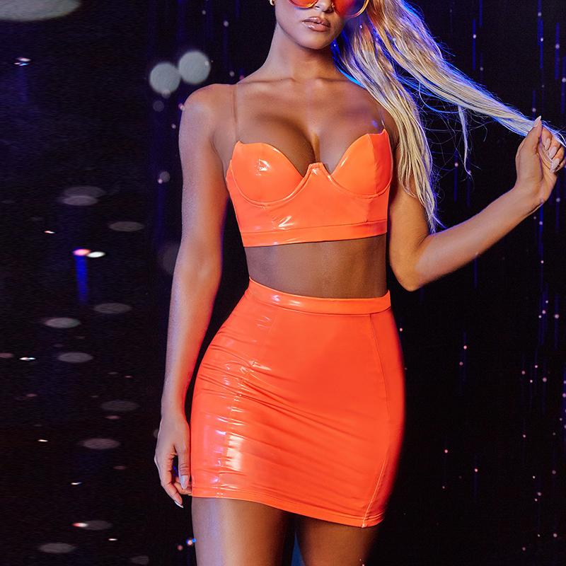 NewAsia Garden из искусственной кожи Комплект из двух предметов Лето прозрачные ремни Бюстье укороченный топ бодикон юбка для женщин два предмета...(Китай)