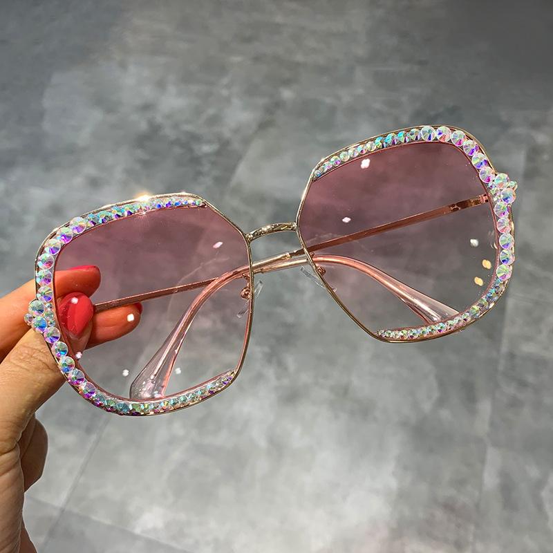 2019 Round Lunettes de Soleil Femmes Vintage Cristal Noir Mix Strass Lunettes de soleil pour