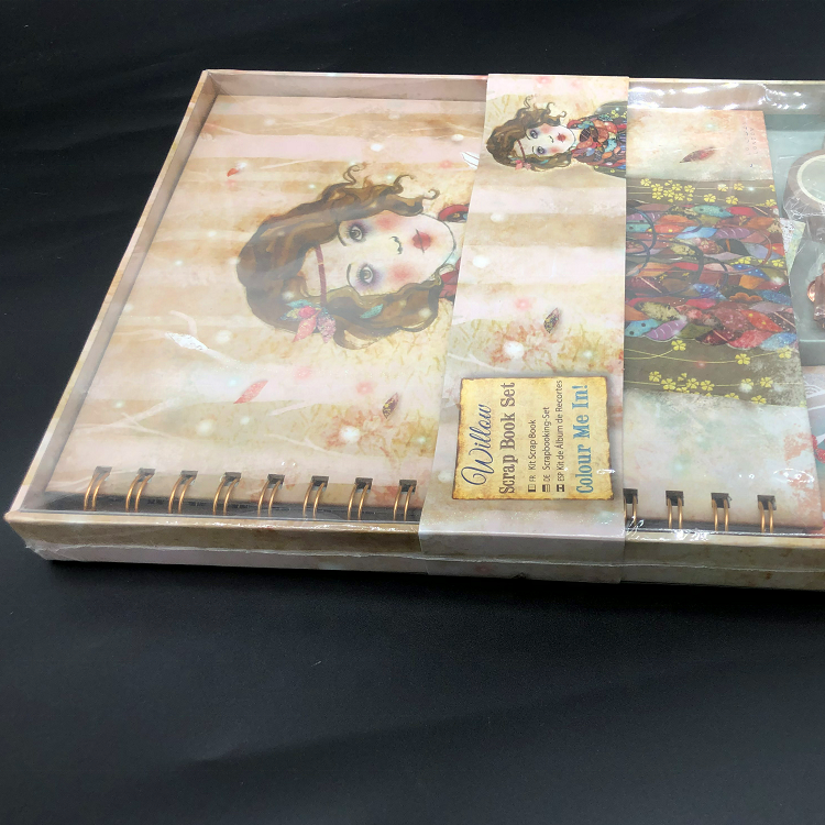 2020 new spiral scrap notebook set with sticker, pocket and clip for kids