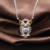 Cute Two Tone Plated Spirit Owl Necklace, 925 Sterling Silver Gold Plated Link Chain Necklace