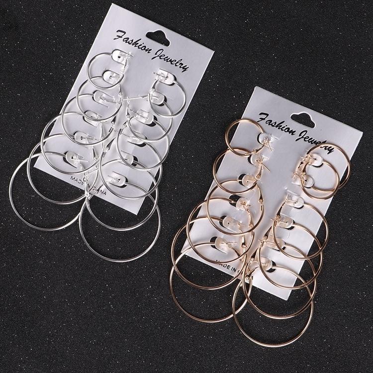 Mode nouveau 6 paires/ensemble Punk rond boucles d'oreilles ensembles or argent petit grand cercle boucles d'oreilles pour femmes