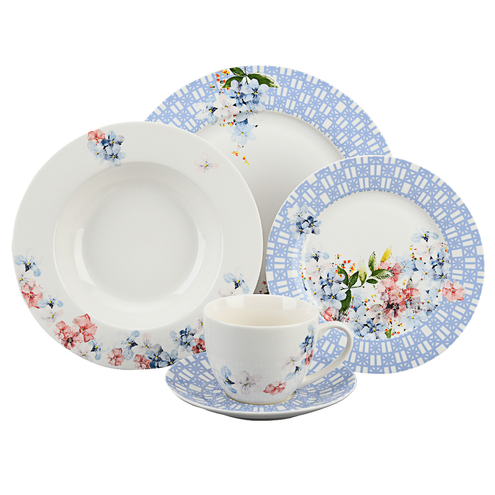 Wholesale Home decoration beautiful tableware blue floral bone china dinnerware sets for wedding party