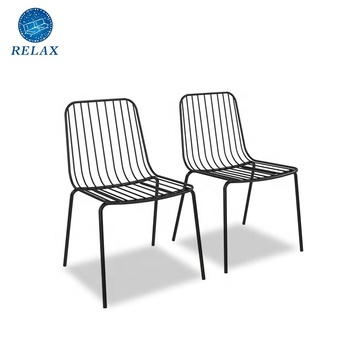 Modern Metal Dining Wire Chairs No Assembly Required Black Stackable Side Accent Chair for Restaurant