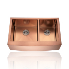 rose gold high-end modern design Customized Pvd Apron front Double Bowl handmade 304 stainless steel Kitchen Sink