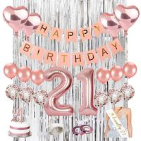 21st Birthday Decorations Rose Gold Birthday Party Supplies with HAPPPY Birthday Banner Cake Topper Sliver Curtain