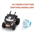 Mini Small Led Flashing Light 360 Degree Rotating Tumbling Upright Driving Watch Remote Contro RC Cars Stunt Car Toy for Kids