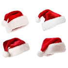 Custom Size New Year Hat Santa Claus Hat Good Quality Christmas Cap Plush Christmas Hat For Adults Children