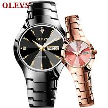 Часы для влюбленных Роскошные Кварцевые наручные часы для мужчин и женщин мужчин OLEVS Dual Calender week Steel Saat Reloj Mujer Hombre парные часы(China)