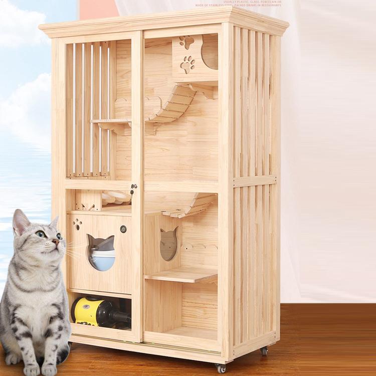 Wooden Cat Villa Luxury Pet Cat House Multi Storey Household Indoor Cat Nest Buy Huisdier Huis Hout Huisdier Huis Luxe Huisdier Indoor Hond Huis Product On Alibaba Com