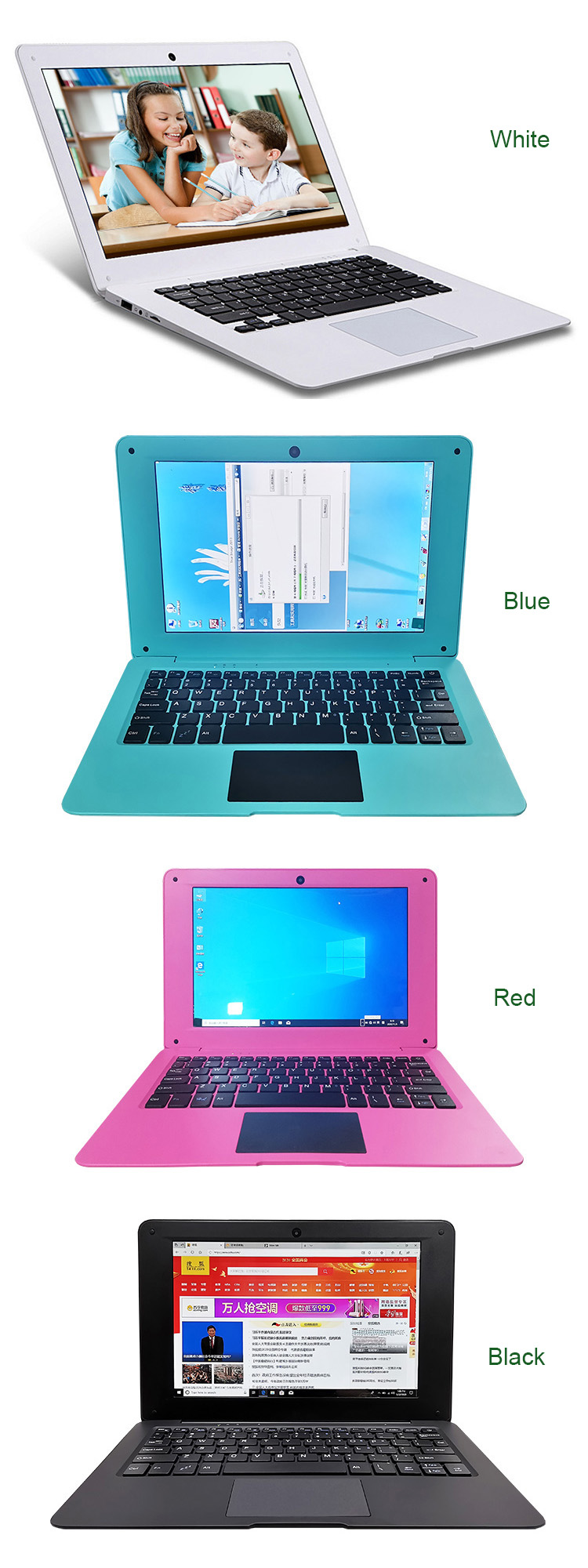 Popular 10.1 inch mini Education Laptop computers  kids students Learning notebooks with 2GB Ram 32GB SSD Window 10 OS